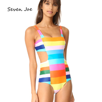 Seven Joe One piece Rainbow Striped swimsuit Sexy women swimwear Backless bikini Female one piece bathing suit Beachwear
