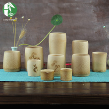 Novelty Bamboo tea cup for kung fu tea wine milk water wooden natural handmade mug with classic carvings health creative crafts