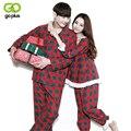GOPLUS 2016 Autumn Winter Classic red plaid Algodón Conjuntos Pijamas Par de Amante de Vacaciones Ropa de la Familia Ropa de Noche Casual En El Hogar