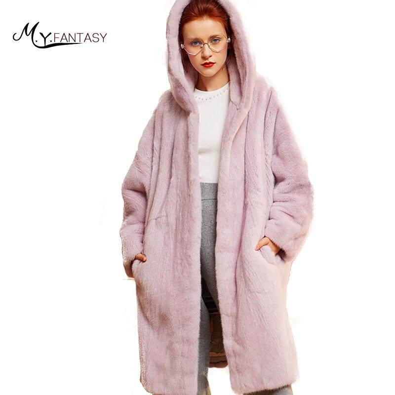 M.Y.FANSTY 2018 Winter Import Swan Velvet Mink Women's Pure Pink Color Loss Mink Coat With Fur Hood Real Fur X Long Mink Coats