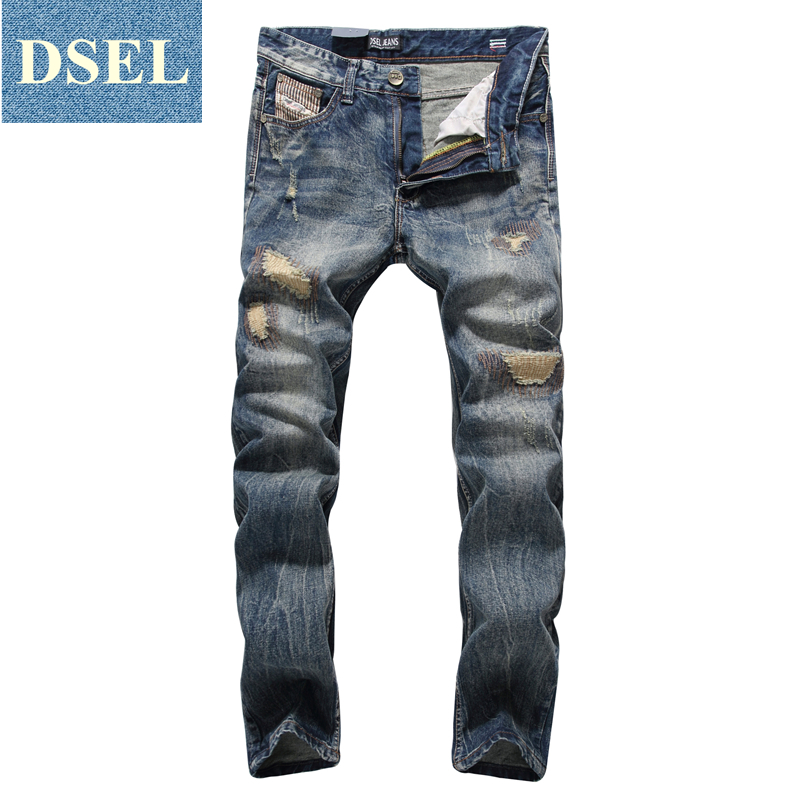 Patch Jeans Ripped Trousers Male Slim Straight Denim Blue Jeans Men High Quality Famous Brand Men`s Jeans Dsel Plus Size 5704 patch jeans ripped trousers male slim straight denim blue jeans men high quality famous brand men s jeans dsel plus size 5704
