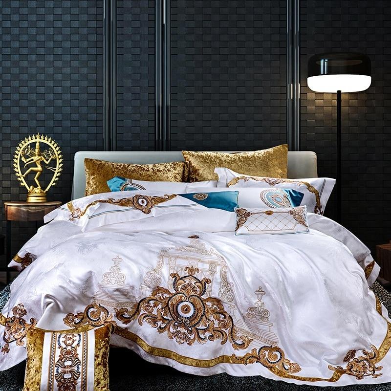 Luxury White European Silk Satin Egyptian Cotton Royal Embroidery Palace Bedding Set Duvet Cover Bed Sheet Bed Linen Pillowcases