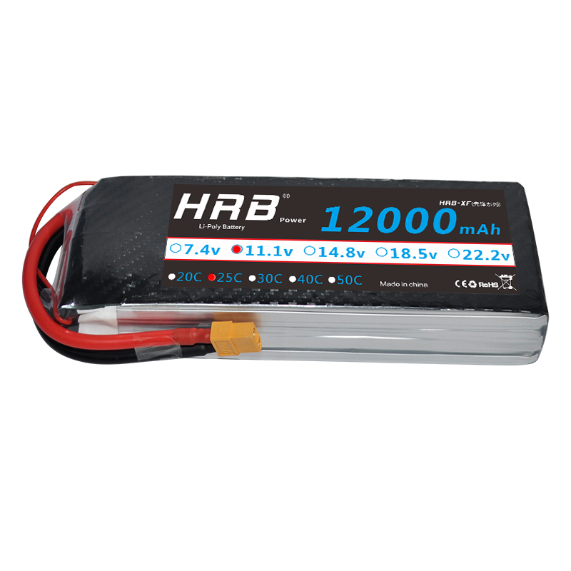 HRB Lipo 3S Battery 11.1V 12000mAh 25C MAX 50C RC XT60 For RC Helicopter Drone AKKU Airplane FPV UAV Car Boat Lipoly Battery yowoo fpv 450 500 akku lipo battery 2s 3s 7 4v 11 1v 5000mah 50c max 100c for traxxas helicopter fpv 450 airplane quadcopter car