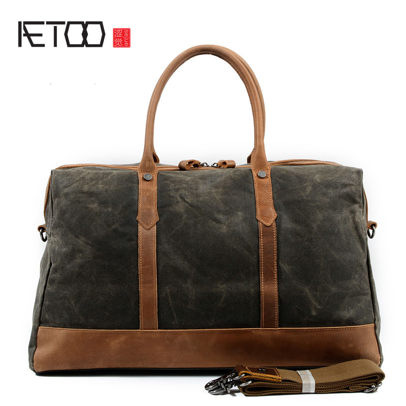 AETOO Retro oil wax waterproof canvas handbag travel bag with crazy horse cowhide shoulder Messenger bag men baggage bag aetoo europe and the united states fashion shoulder bag oil wax canvas with crazy horse bag waterproof messenger bag men and wom