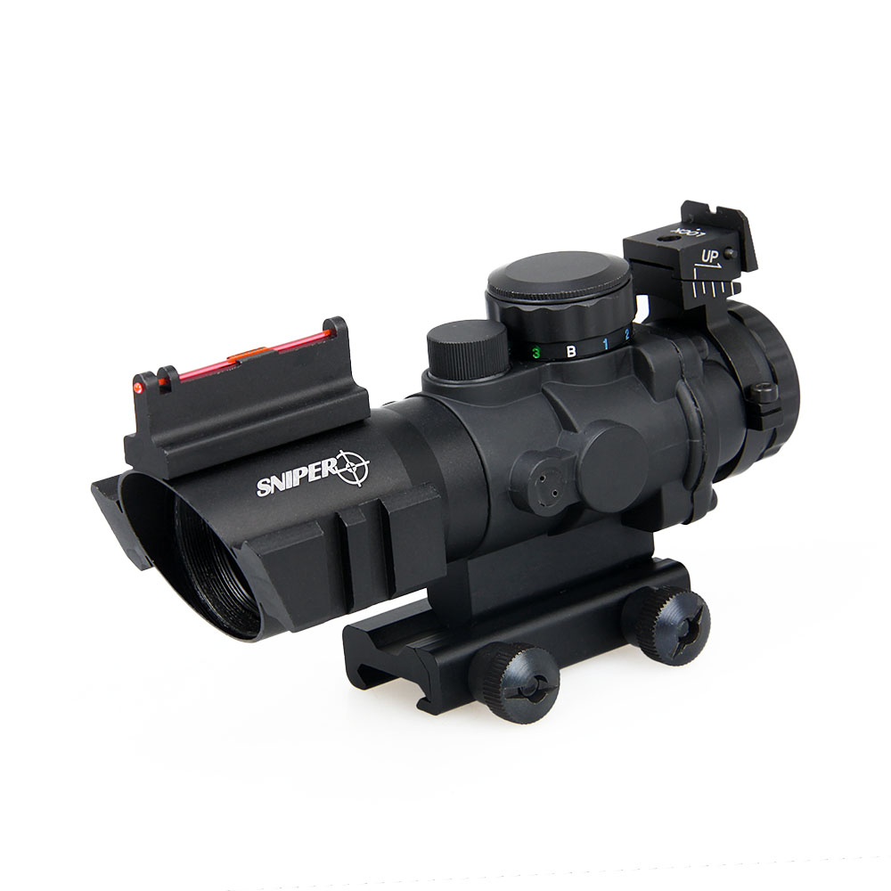 Tactical Hunter Rifle Scope 4x32 Dual Illuminated Tactical Riflescope Compact Scope w/ Fiber Optic Sight for Hunting PP1-0105 tactical 4x32 compact rifle scope w tri illuminated reticle optic sight airsoft hunting riflescope