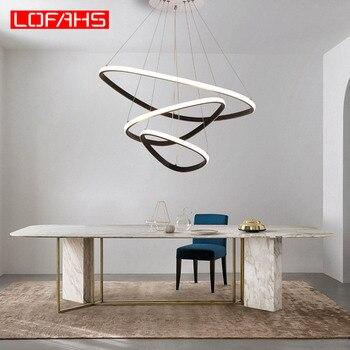 Современные светодиодные люстры алюминиевые треугольные кольца chandeerr освещение круг для гостиной столовой Бизнес клуб кухни