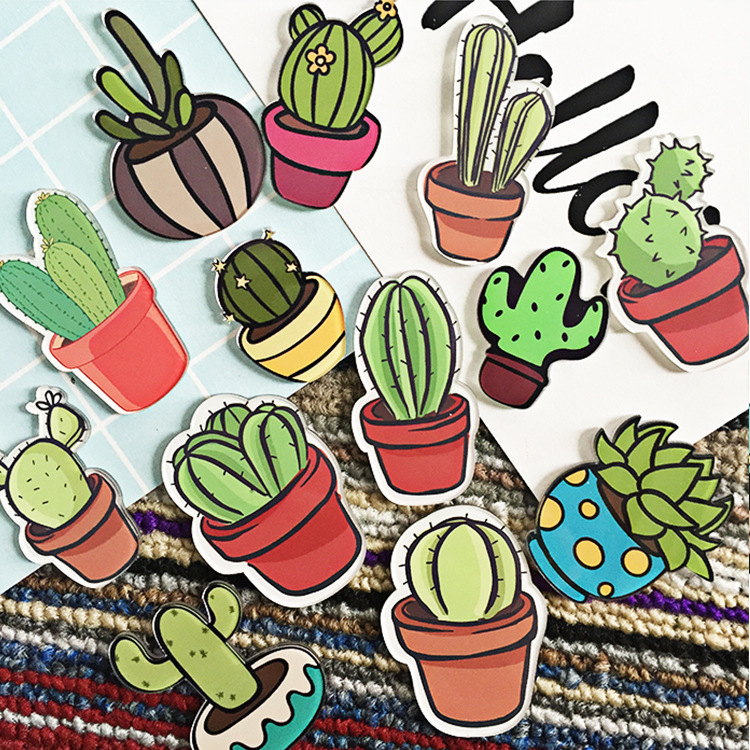 (10 pieces/ lot)Cartoon cute cactus fridge magnet
