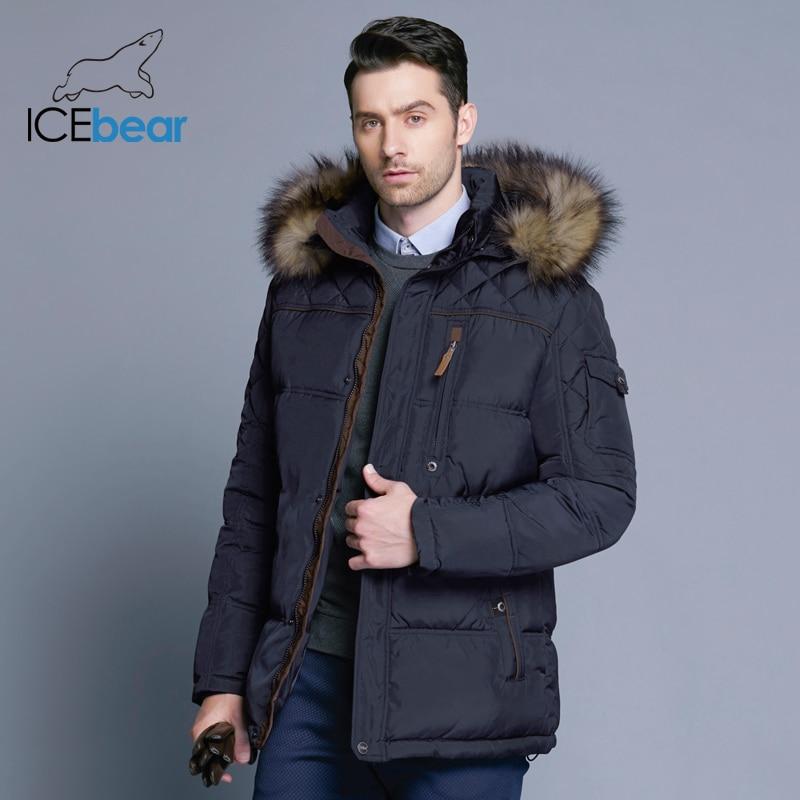 ae0ff839f82 Icebear 2018 Новинка зимы Куртка Мужская теплое пальто модная повседневная  куртка средней длины утолщение пальто мужчины
