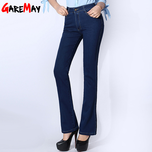 f6136e94d7 Mujer Plus Tamaño Flares Jeans Mamá Clásico de Cintura Alta Pantalones  Vaqueros Largos Elásticos Simples Ropa