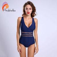 Andzhelika New One Piece Swimsuit Women Bodysuit Beachwear Padded Sexy Mesh Plus Size Swimwear Bathing Suit