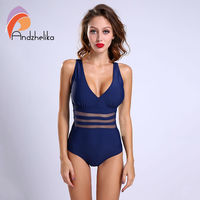 Andzhelika New One Piece Swimsuit Women Bodysuit Beachwear Padded Sexy Mesh Plus Size Swimwear Bathing Suit