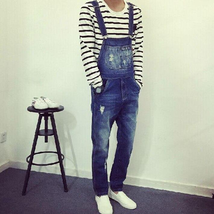 La Salopettes Warren Mode Courroie Costumes Mince Pantalons 2015 Nouveaux Hommes Spaghetti Chanteur De Jeans Pièce Tendance Droite Bleu Une n8xXS