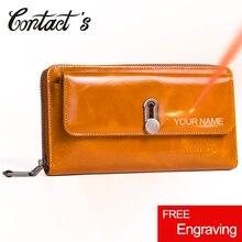 Neue Mode Aus Echtem Leder Brieftasche Frauen Zipper Geld Tasche Lange Kupplung frauen Geldbörse Karte Halter Brieftaschen Große Kapazität