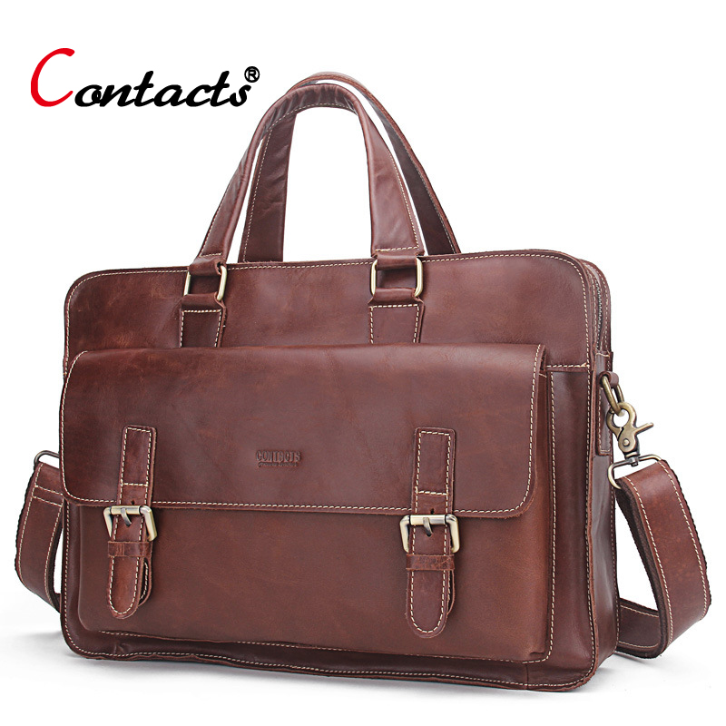CONTACT'S Genuine Leather Men Bag business Handbag briefcase men shoulder Messenger bag casual laptop bag designer high quality high quality genuine leather men bag crocodile leather men handbag business shoulder bag briefcase messenger bag cowhide 5017