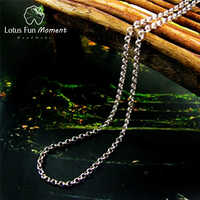 Lotus Fun Moment réel 925 bijoux en argent Sterling mode Long Collier chaîne sans pendentif Acessorios pour les femmes Collier