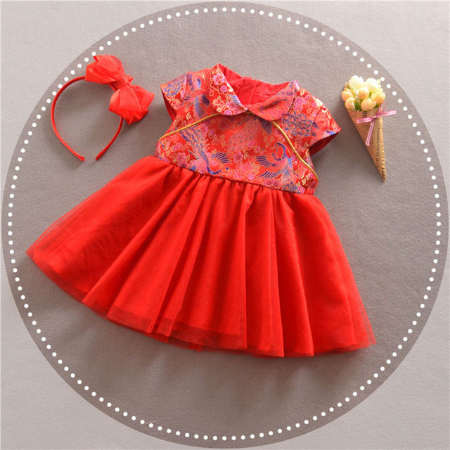 Girls Winter Dress Chinese Style Traditional Child Tang Suit Embroidery Cheongsam Dresses Baby Qipao For New Year Dresses 2018