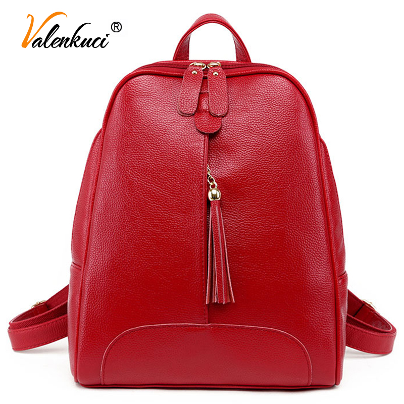 ФОТО Valenkuci women leather backpacks travel bags school bags for teenage girls leather women bagpack for women school bag BD-173
