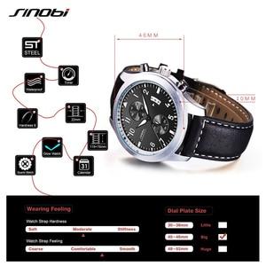 Image 4 - SINOBI שעון גברים צבאי הכרונוגרף יד שעוני יוקרה מותג תאריך עור שעון זכר ספורט הלם ז נבה קוורץ שעוני יד