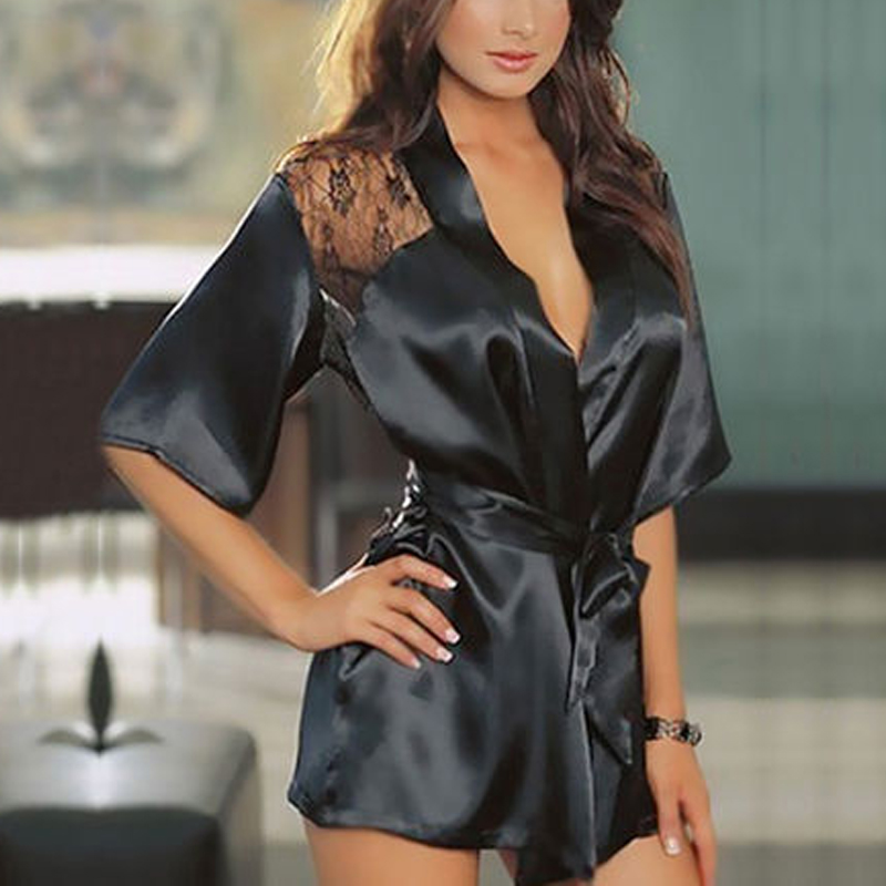 buy details about woman sexy lace bathrobe perspective night gown pajamas satin lingerie nightwear. Black Bedroom Furniture Sets. Home Design Ideas