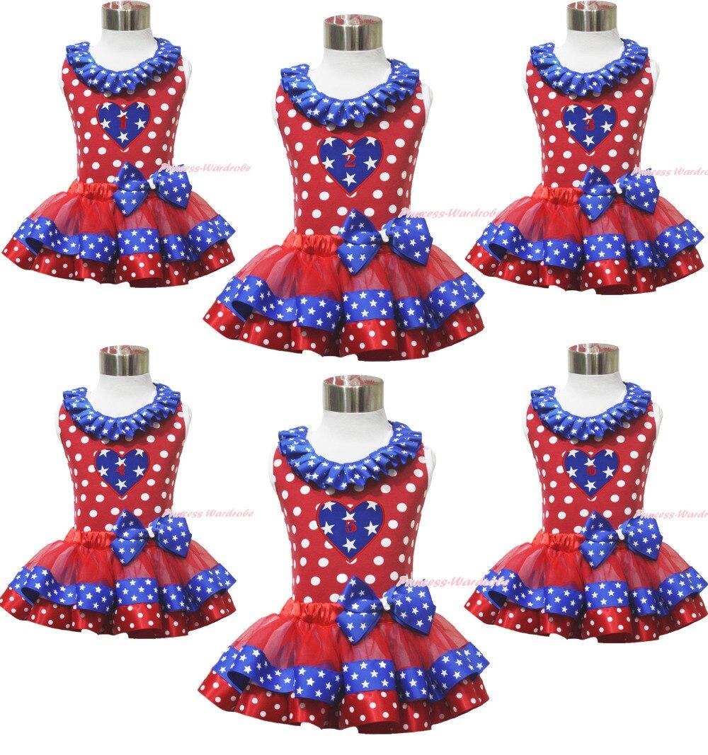 Birthday 1ST 2ND Minnie Top 4th July Patriotic Star Heart Satin Trim Skirt NB-8Y MAPSA0672 кулоны подвески медальоны sokolov 94031349 s