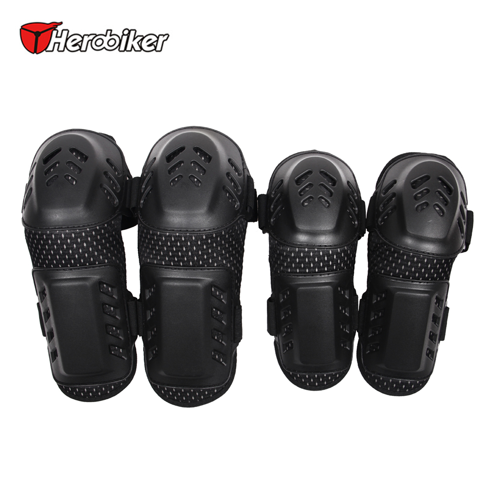 HEROBIKER Motorcycle MTB Bicycle Knee Protector BMX DH Bike Skating Skateboard Elbow Pads + Knee Pads Set Knee Brace Support spakct cycling bike children elbow pads knee pads silicone gel elbow protect cover sport safety pulley bicycle knee pads support