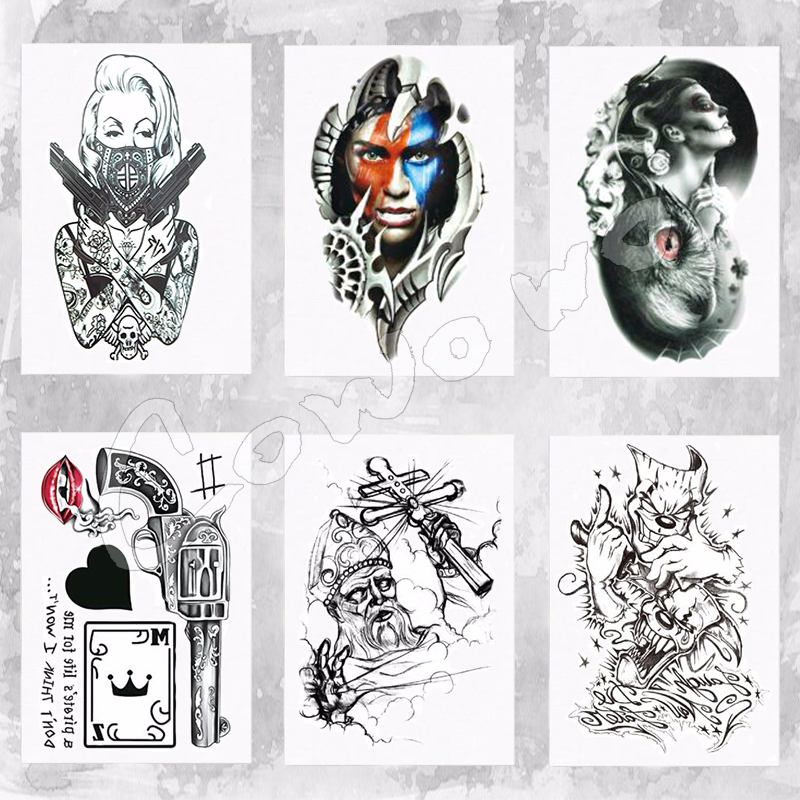 Cool Tattoo Girl With Guns Waterproof Temporary Tattoo Stickers