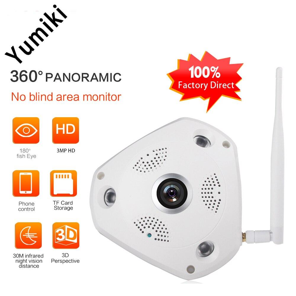 imágenes para Yumiki 360 Grados VR Cámara IP 2MP 3MP HD de La Visión Nocturna CCTV Cámara Del Bebé Monitor de Seguridad Para el Hogar de Peces Ojos Lente IP Cam
