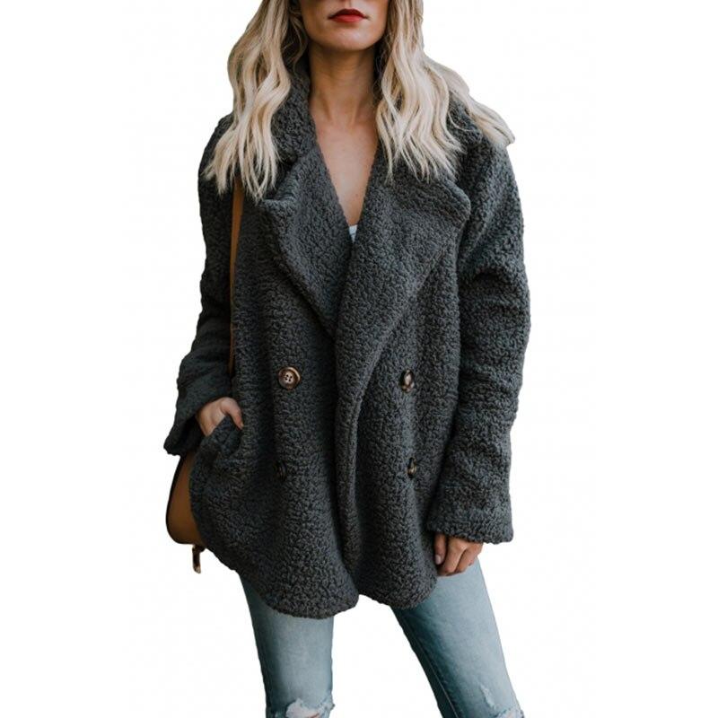 Casual Chaud Épaissir Manteau Couleur Longues Automne Manches Noir Vêtements Pur Mode Poche À Vetement Femmes Femme Laine Hiver wRpP4qgz