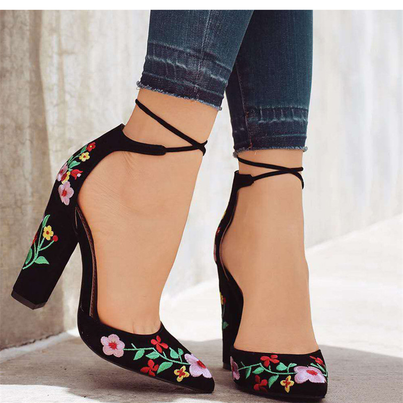 Shoes Female Pumps-Flower Embroidery Ankle-Strap Pointed-Toe High-Heels Wedding Party
