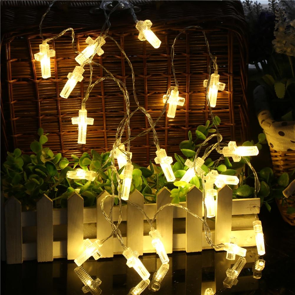 Fairy LightsCross String Light 1.5M-6M,10L/20L/40L3AA/ Room Weding Party Wall Window Home Decoration Children Night Lamp