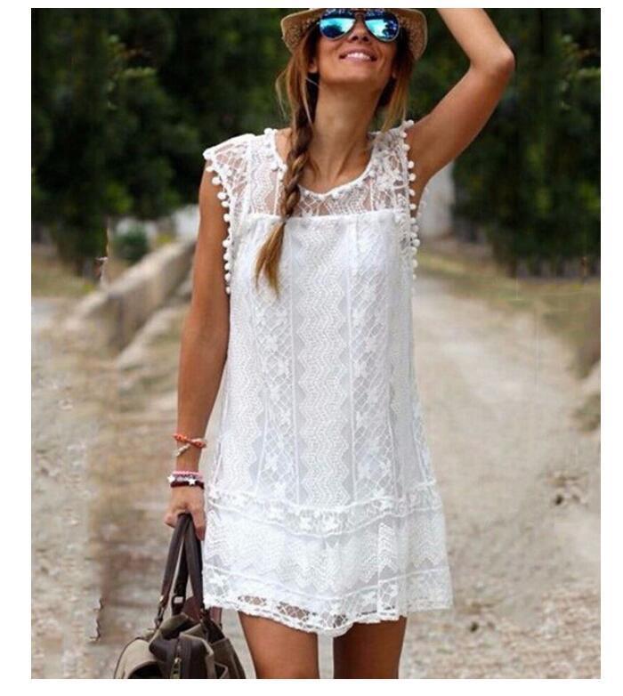 31f569e7662 Summer Dress 2018 Women Casual Beach Short Dress Tassel Black White Mini  Lace Dress Sexy Party