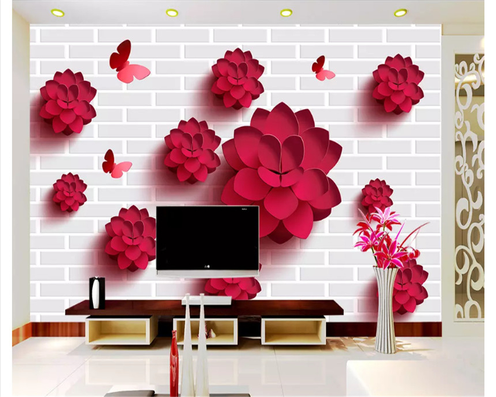 Beibehang Moda personalidade decorativo papel de parede papel de parede simples atmosfera estéreo flor fundo do quarto interior