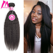 Maxglam Human Hair Weave Bundles Peruvian Virgin Hair Natural Color Kinky Straight Hair Extension Free Shipping(China)