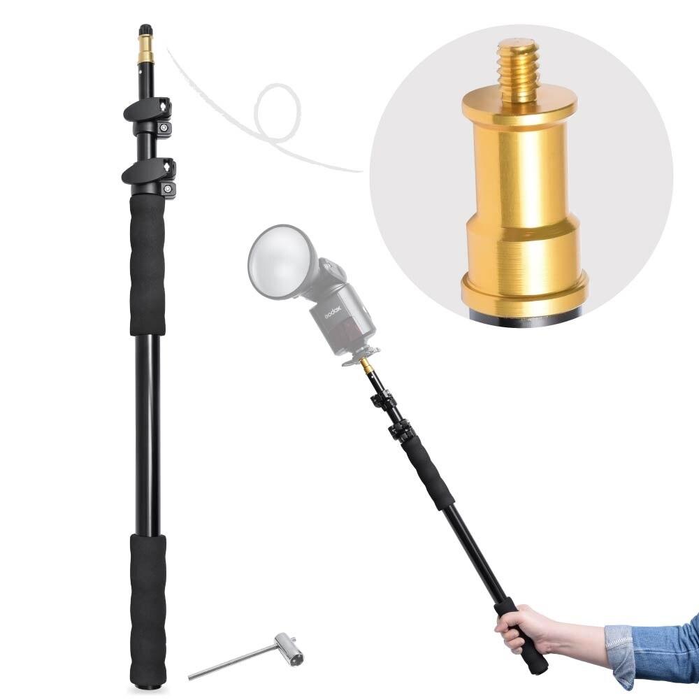 158cm / 62 Aluminum Alloy Telescopic Light Boom Pole Holder Stick Extension Support Rod Handheld Grip Rig for Flash Speedlite
