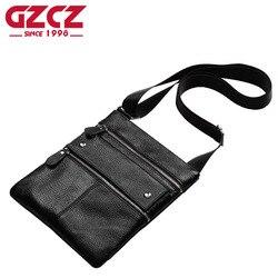 GZCZ Брендовые мужские сумки через плечо из натуральной кожи мужские тонкие деловые сумки через плечо для мужчин на молнии дизайнерские сумк...