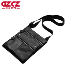 GZCZ Brands Men Messenger Bags Genuine Leather Shoulder Bags Male Thin Business Crossbody Bags for Men Zipper Designer Bags