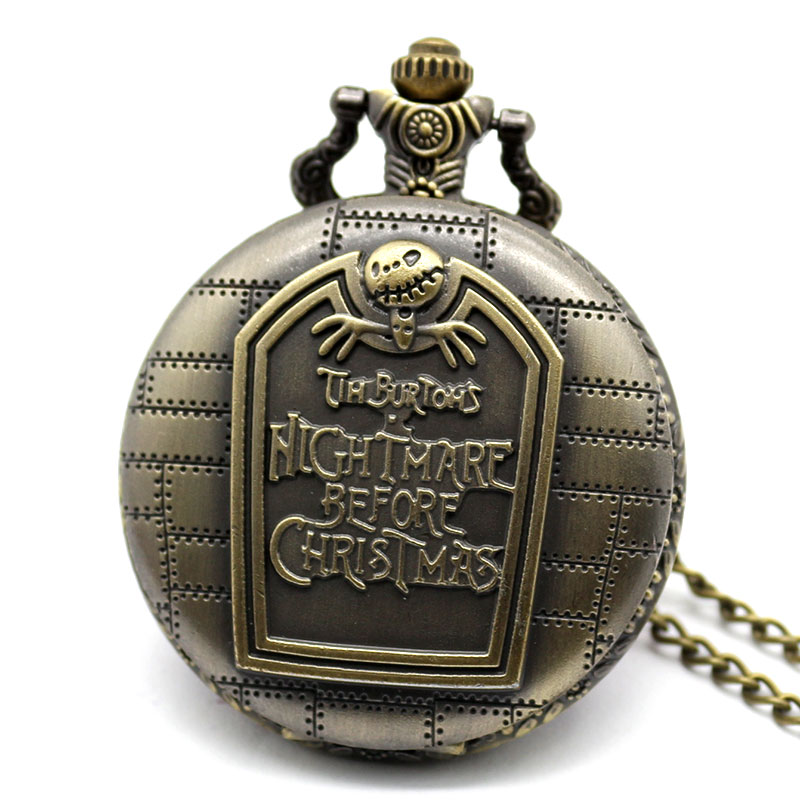 Vintage Quartz Pocket Watch The Buttons Nightmare Before Christmas Pendant Unisex Gift With Necklace Chain european and american movies aladdin and the magic lamp quartz pocket watch do the old flip quartz watch chain table ds274