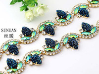 2 Model DIY Sew On Fashion Accessories Flower Rhinestone Alloy Strass Chain Hair Clasp Decorate Material