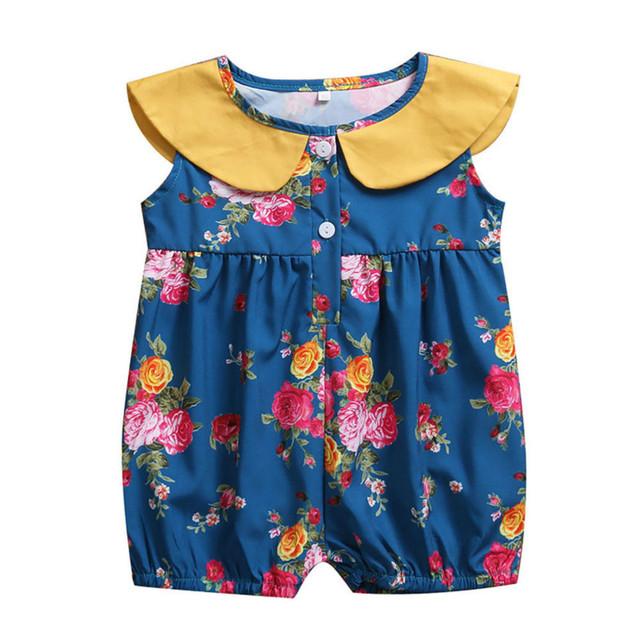 97bce7267bb Cute Newborn Baby Girl Clothes 2017 Infant Kids Sleeveless Peter Pan Collar Floral  Romper Jumpsuit One