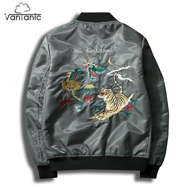 Vantanic Brand Bomber Jacket Coat Men Clothing Dragon and Tiger Emberoidery  High Street Outerwear Coats Spring Male Jacket JTC40 e80c5cd7ff87