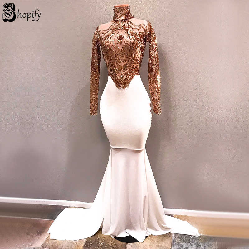 Long Prom Dresses 2019 White Mermaid High Neck Nude Long