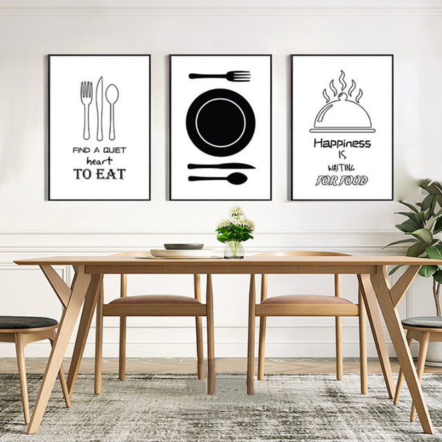 Minimalist Kitchenware Canvas Painting Black And White Nordic Poster Print Wall Art Pictures For Kitchen Dining