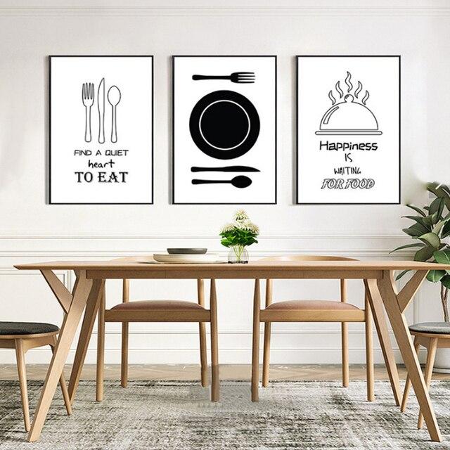 Minimalista cocina lienzo pintura Blanco y Negro Nórdico impresión ...