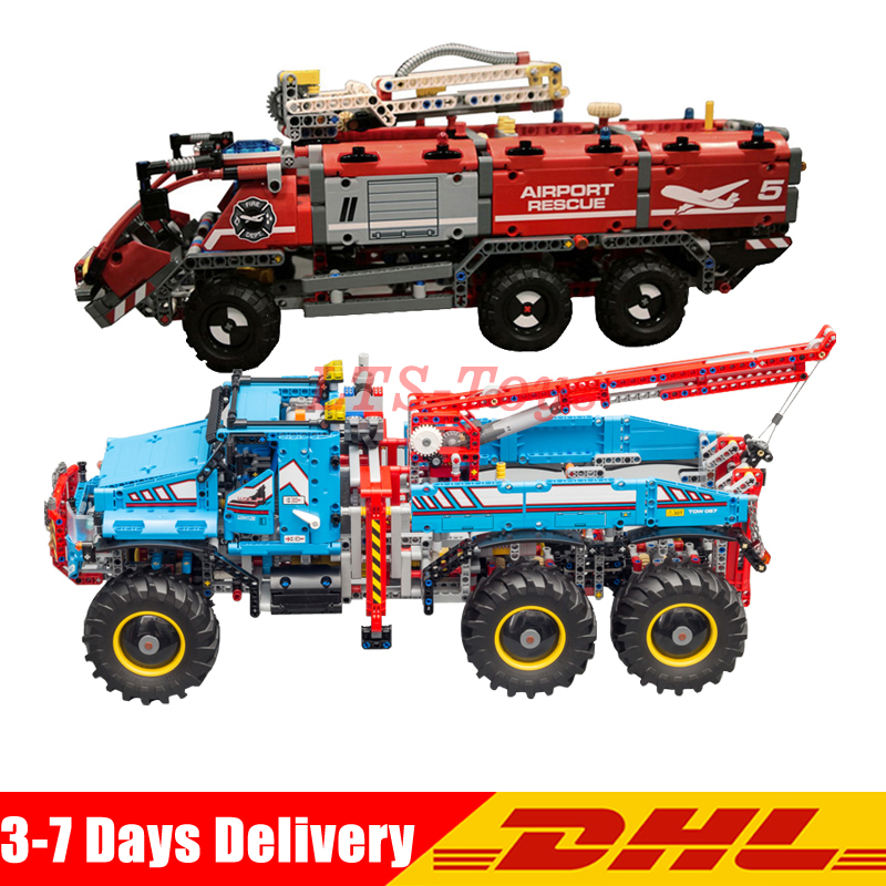 LEPIN 20055 The Rescue Vehicle Set +20056 All Terrain 6X6 Remote Control Truck Building Blocks Bricks Toy Clone 42070 42068 2pcs lepin technic 20055 the rescue vehicle set 1180pcs building blocks toys for children bricks compatible legoing technics 42068