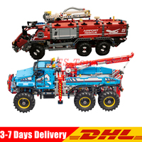 LEPIN 20055 The Rescue Vehicle Set +20056 All Terrain 6X6 Remote Control Truck Building Blocks Bricks Toy Clone 42070 42068 2pcs