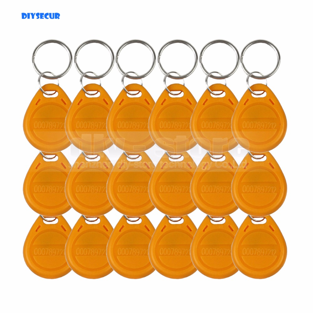 DIYSECUR 100pcs/lot 125Khz RFID Tag Proximity ID Keyfob Key Tag Electronic Key Door Key Yellow