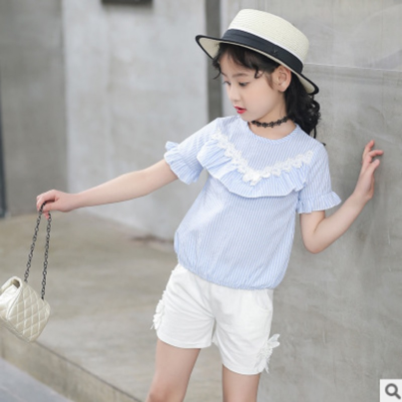 Girls Shirt Shorts Suits Clothing Set 2019 New Summer Childrens 2 Piece 2 Striped Colors Sets Kid Clothes Sets Size4-14 ly056Girls Shirt Shorts Suits Clothing Set 2019 New Summer Childrens 2 Piece 2 Striped Colors Sets Kid Clothes Sets Size4-14 ly056
