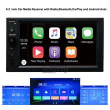 6.2 inch Car Media Receiver Fit for the all car with Bluetooth,Apple CarPlay and Android Auto 2 DIN Radio.