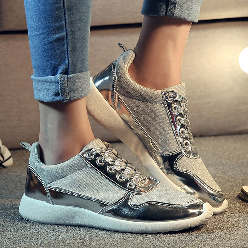 2016 Women Casual Shoes Brand New Chaussure Femme Rubber Gold Silver Mesh Woman Breathable Fashion Sport Summer Shoes new running shoes for women sport shoes woman cheap spor ayakkabi sneakers sapatilha feminina chaussure femme mesh breathable