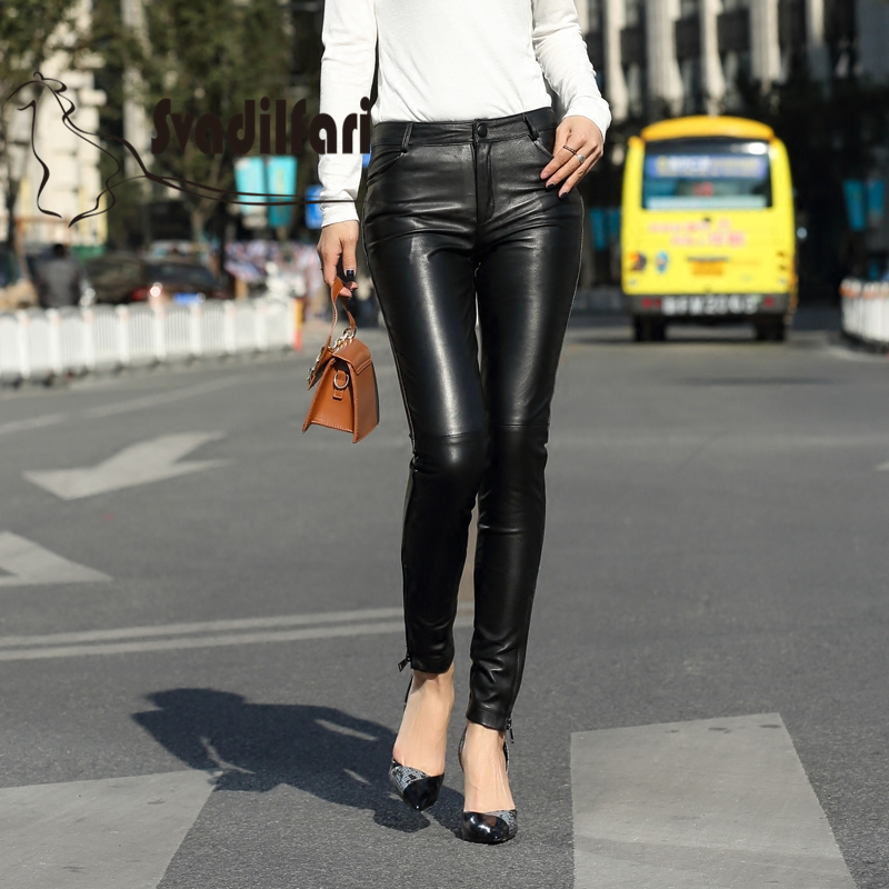2018 new Real leather pants female sheep skin Leggings wear feet with zipper cashmere thickened in
